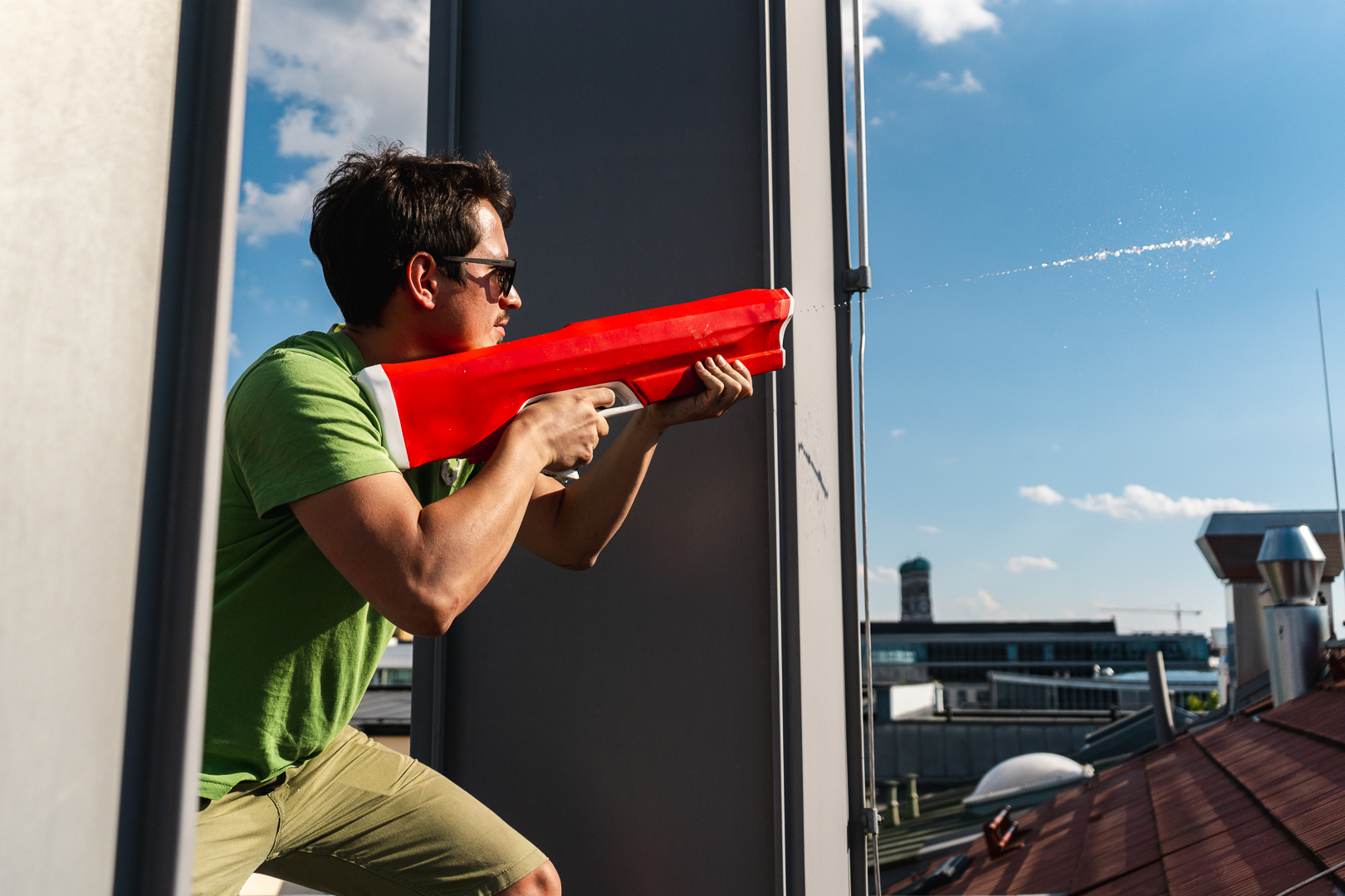 The Spyra One water gun shoots water bullets