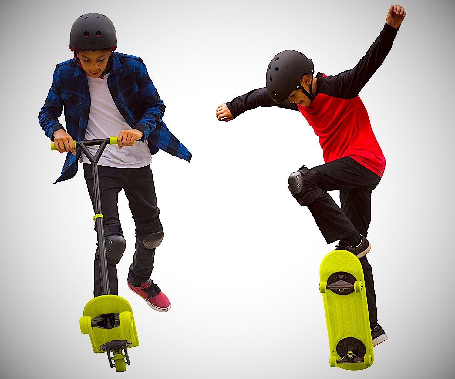 Kids playing the scooter and skateboard morfboard