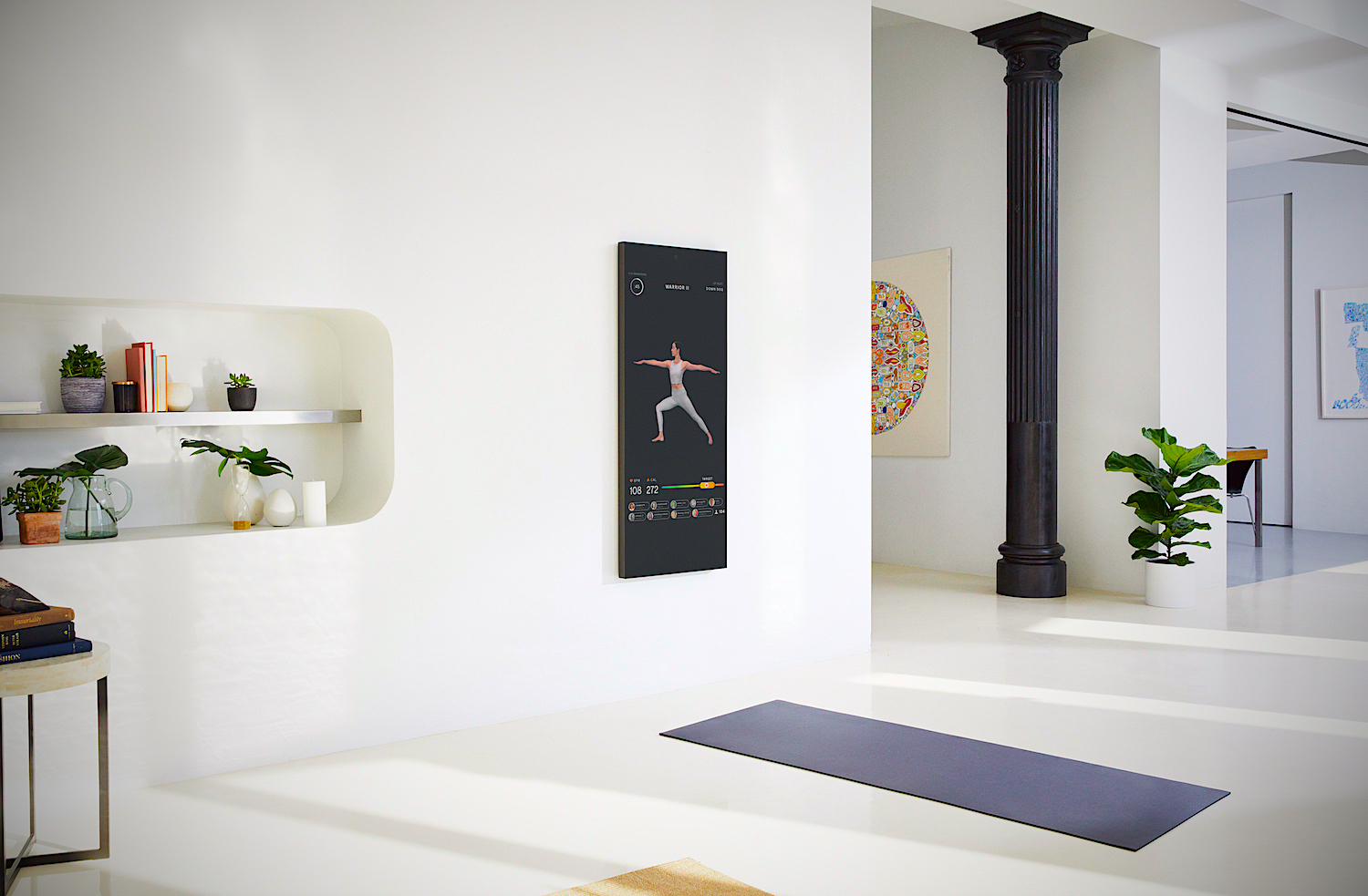 Smart fitness mirror on wall
