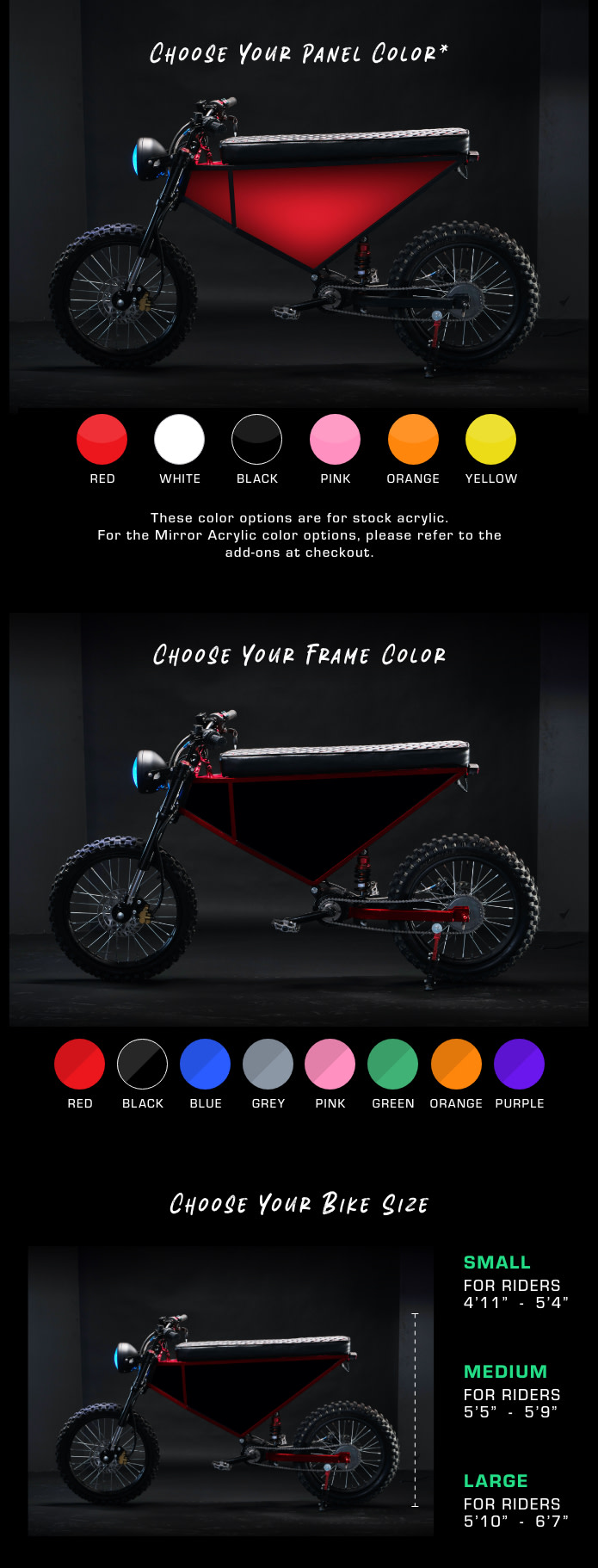 choose frame and panel colors and size